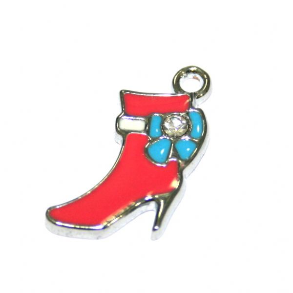 1pce x 14*14mm Rhodium plated hot pink high heel boot with blue bow enamel charm - SD03 - CHE1329